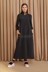 2057 Elbise Siyah - Thumbnail