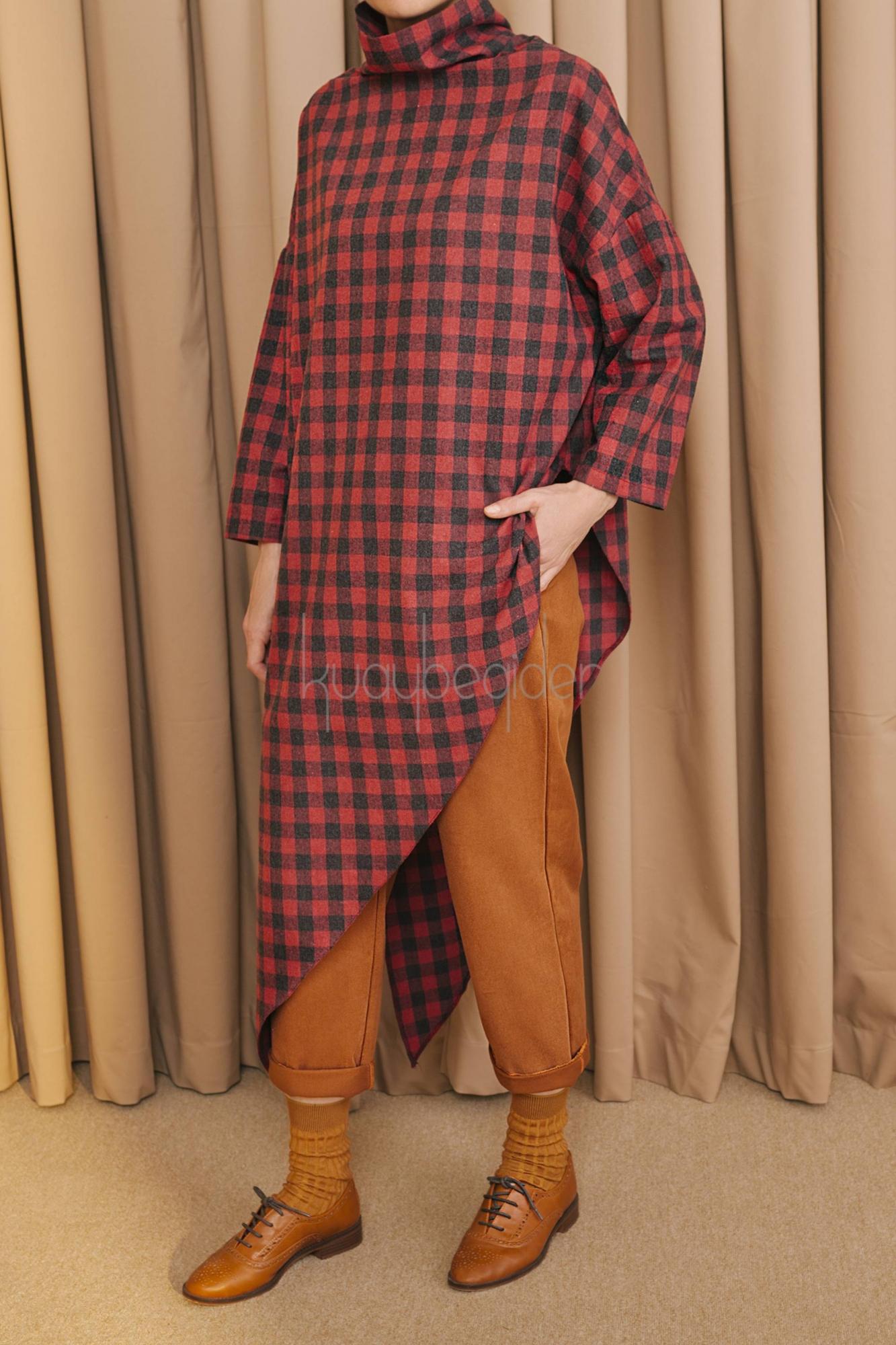 Kuaybe Gider - 5091 Tunik Kırmızı Ekose
