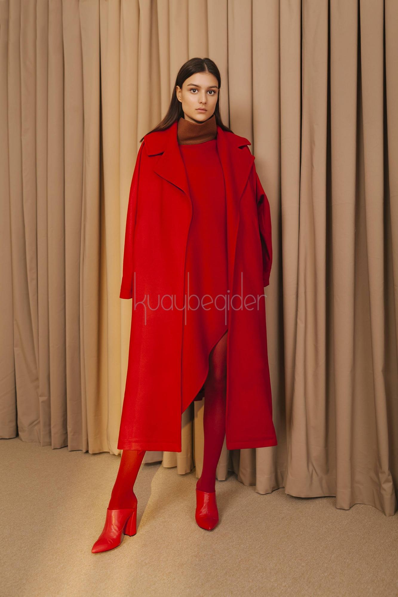 Kuaybe Gider - 7069 Kaşe Palto Kırmızı