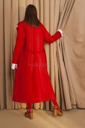 7069 Kaşe Palto Kırmızı - Thumbnail