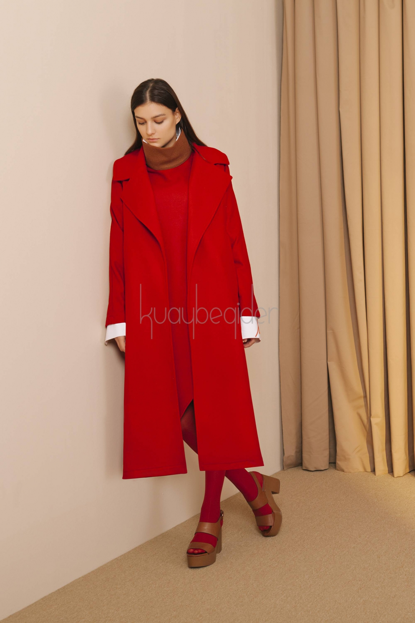 7069 Kaşe Palto Kırmızı