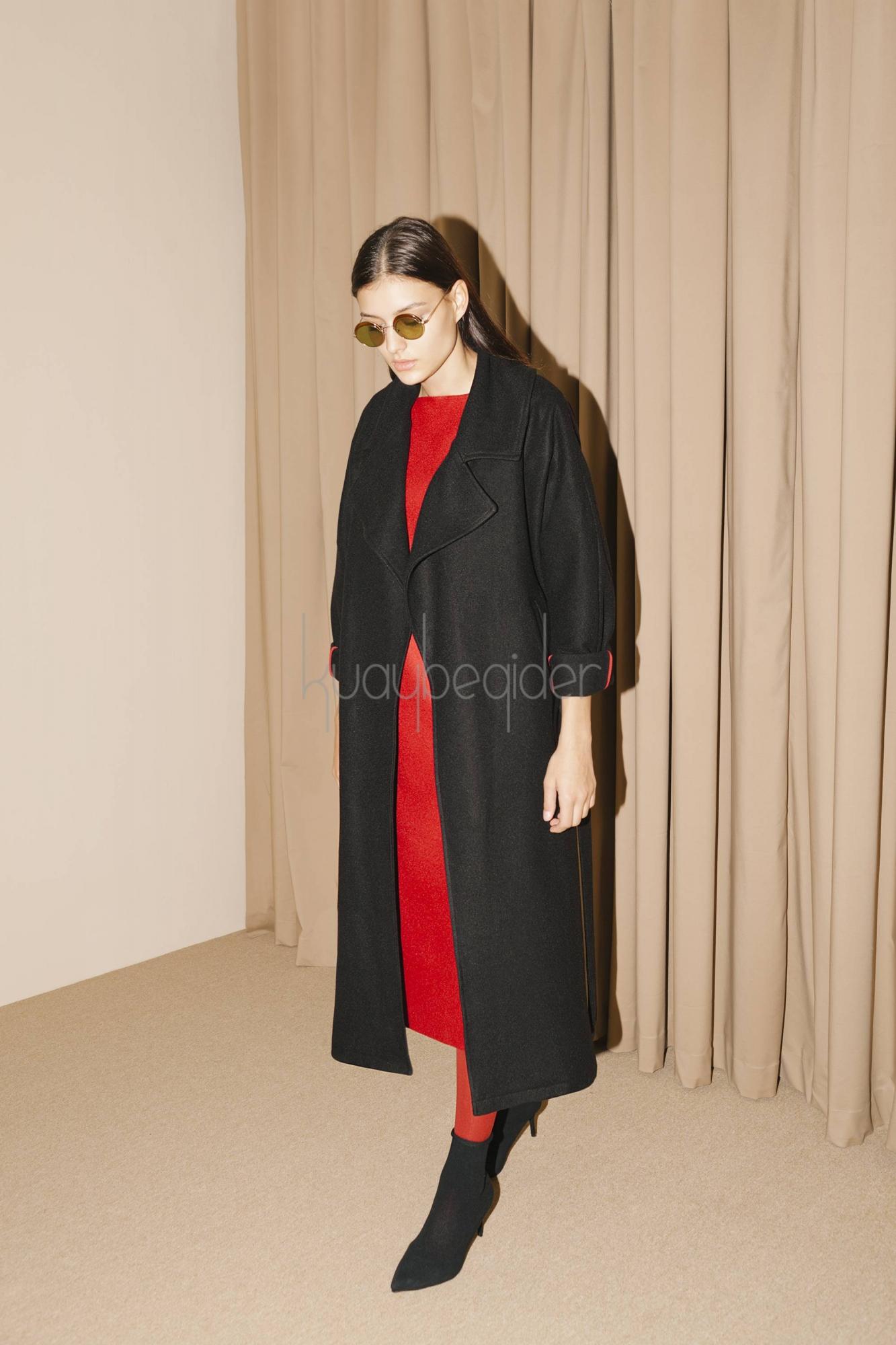 Kuaybe Gider - 7069 Kaşe Palto Siyah