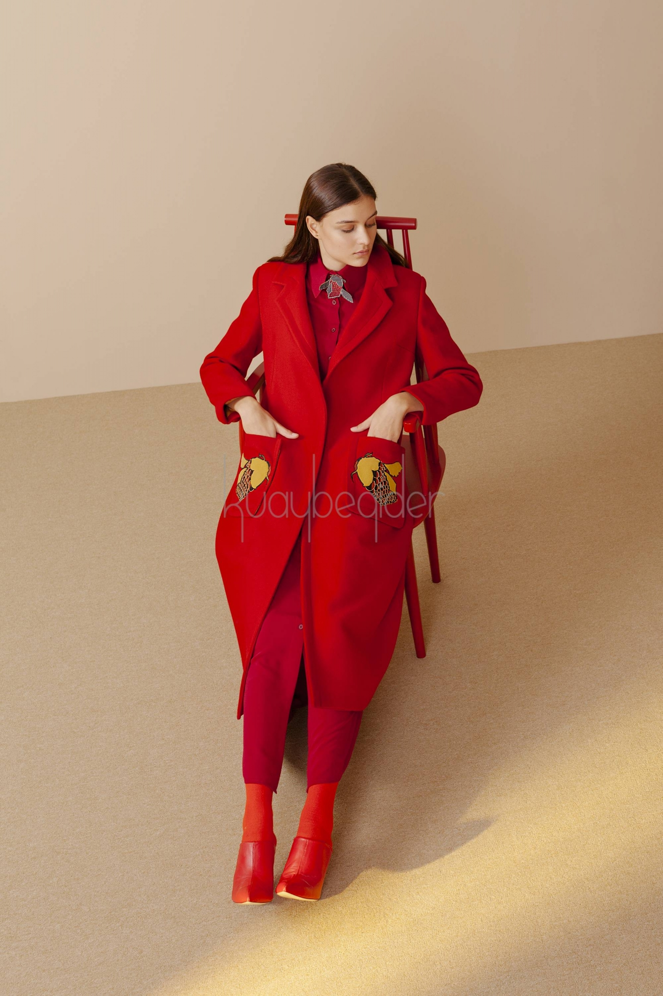 7070 Kaşe Palto Kırmızı