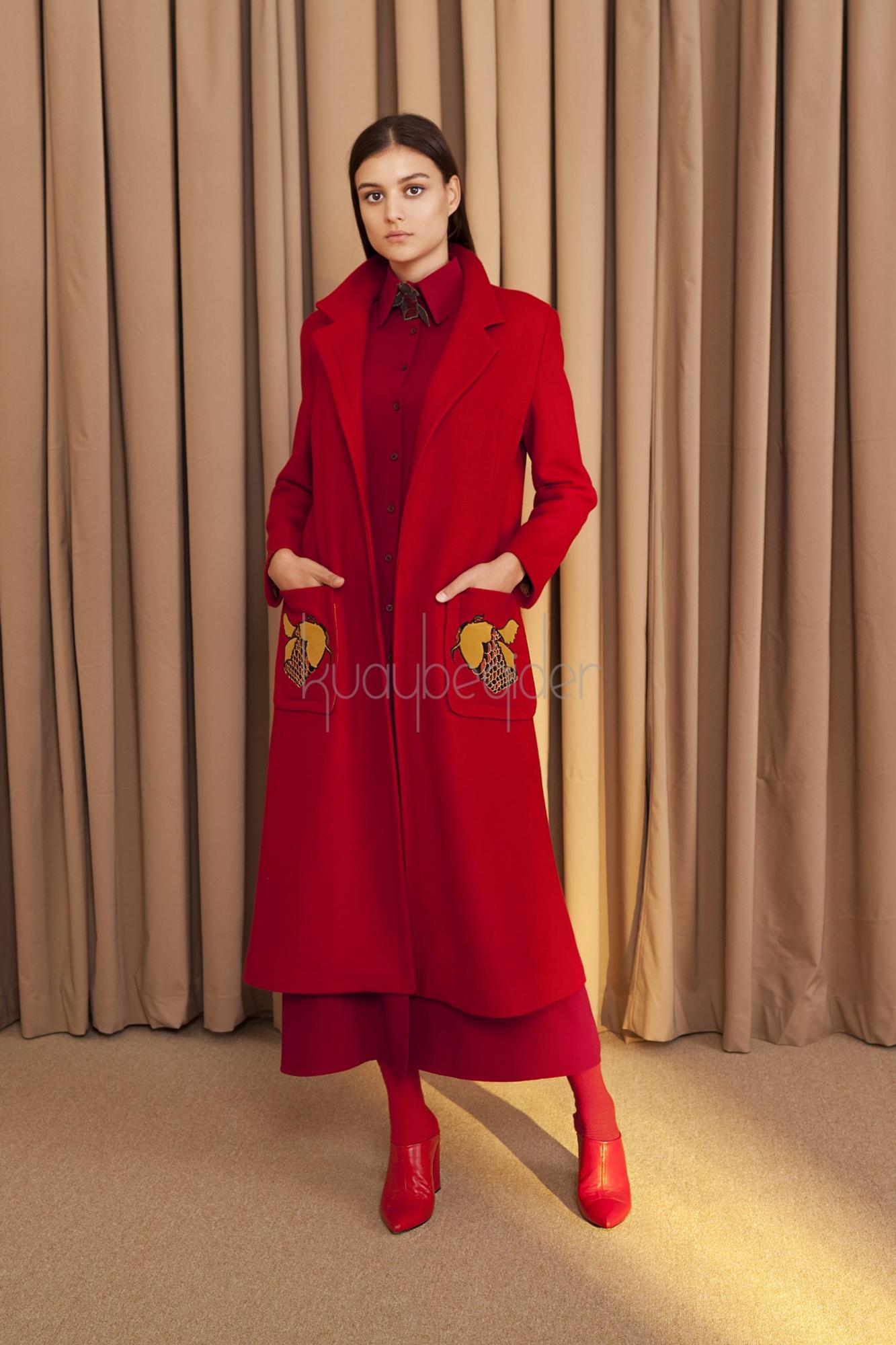 Kuaybe Gider - 7070 Kaşe Palto Kırmızı