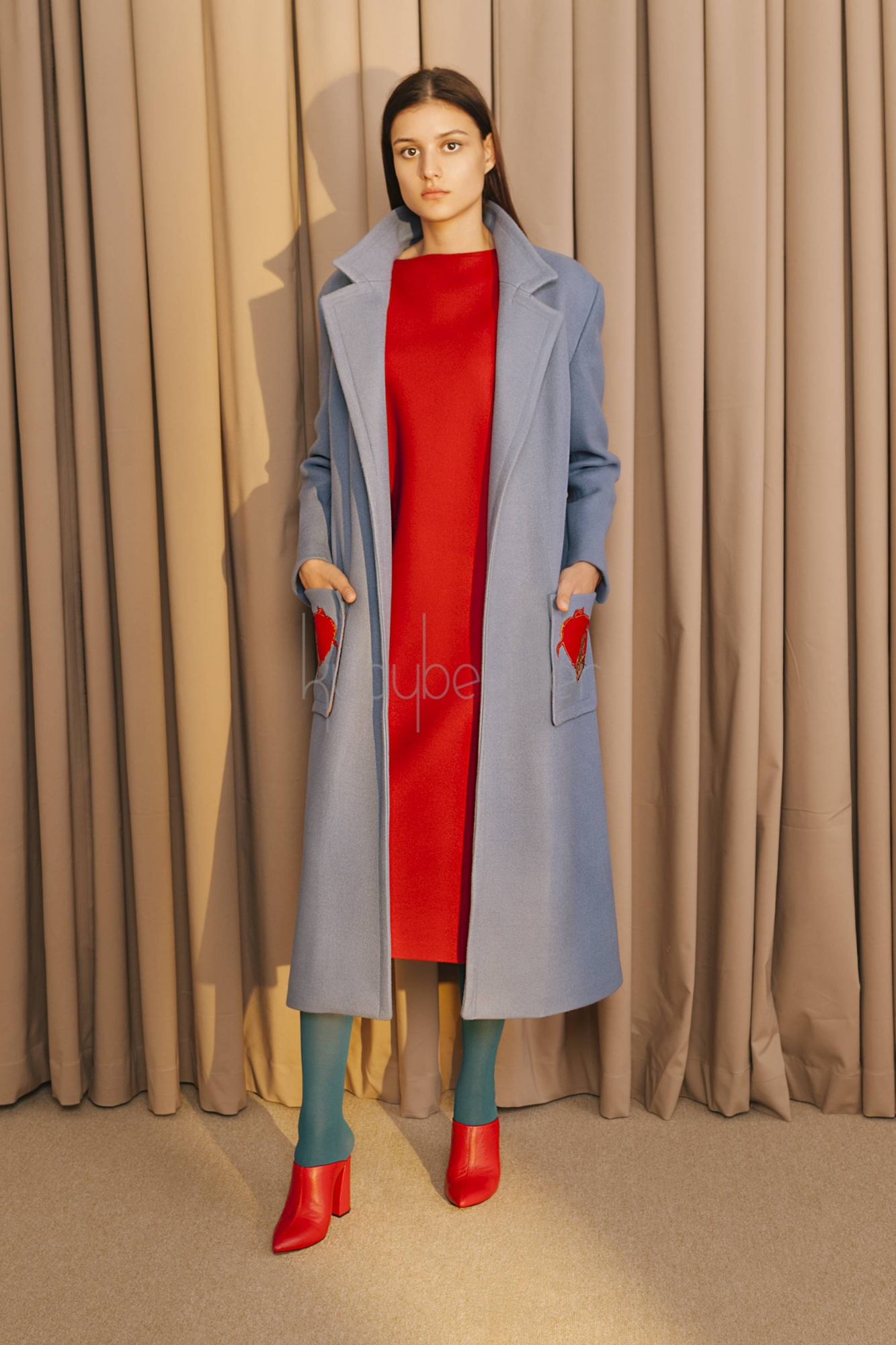 Kuaybe Gider - 7070 Kaşe Palto Mavi
