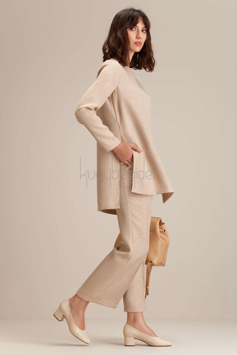 Kuaybe Gider - Bej Miroir Pantolon