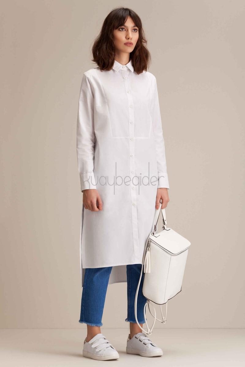 Kuaybe Gider - Coton Beyaz Cerenity Tunik