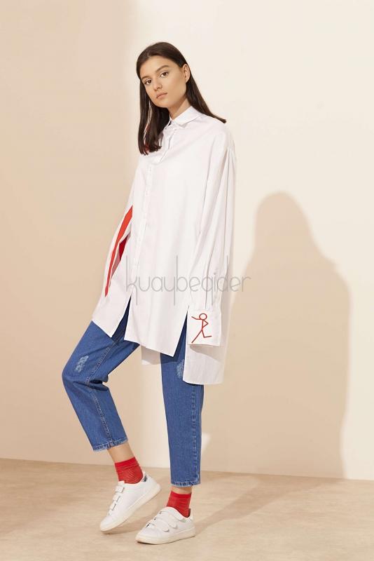 Kuaybe Gider - Coton Beyaz Yolo Tunik