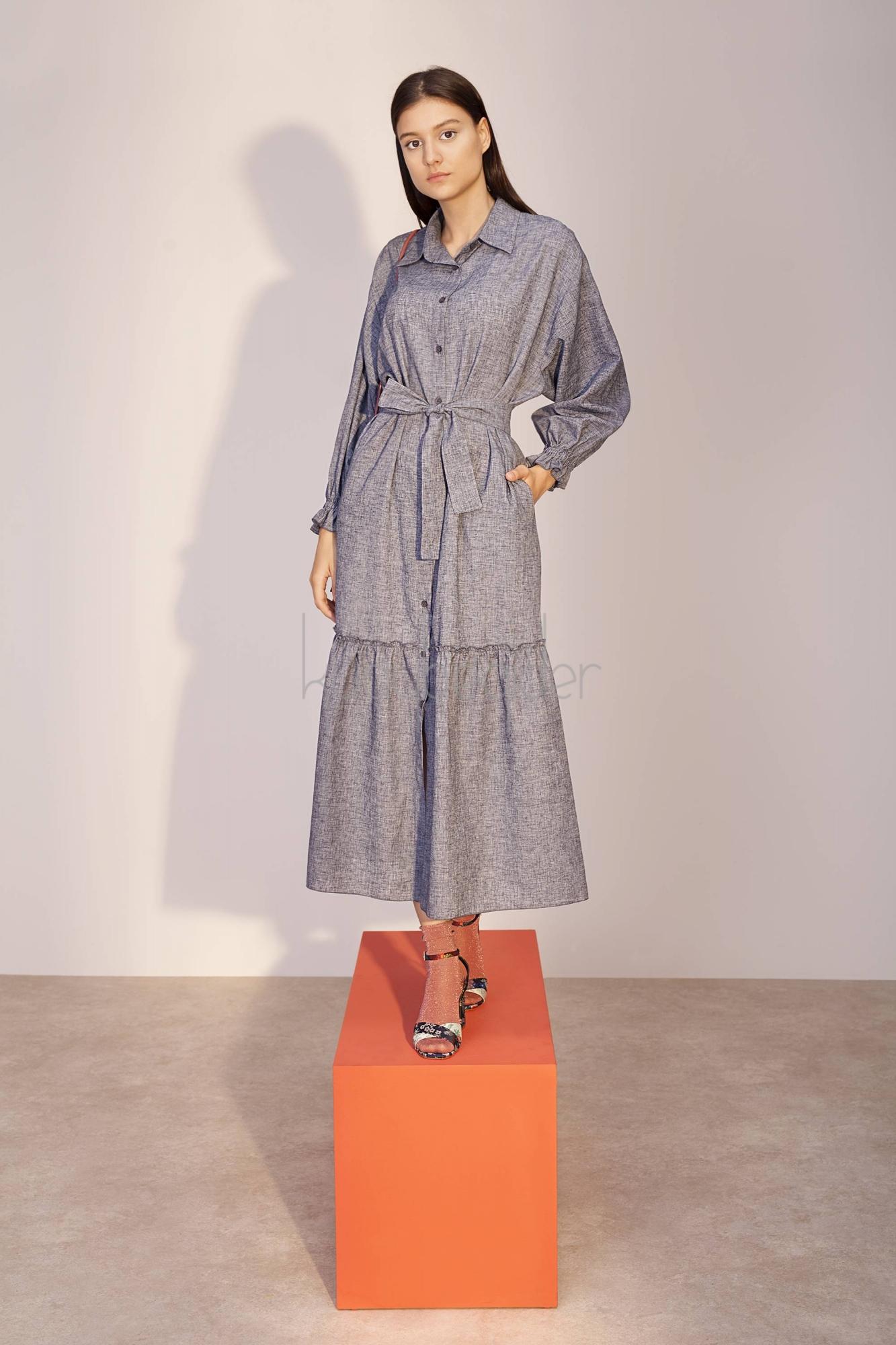 Kuaybe Gider - Gri Melanj Vela Elbise