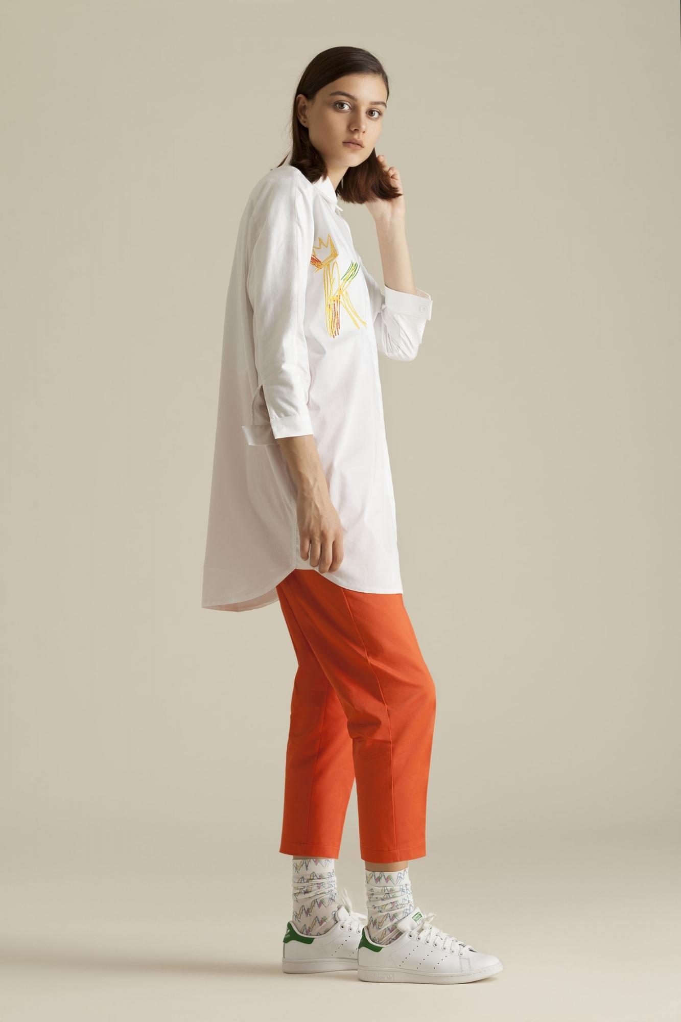 Kuaybe Gider - 1038 Gömlek Beyaz-Sarı