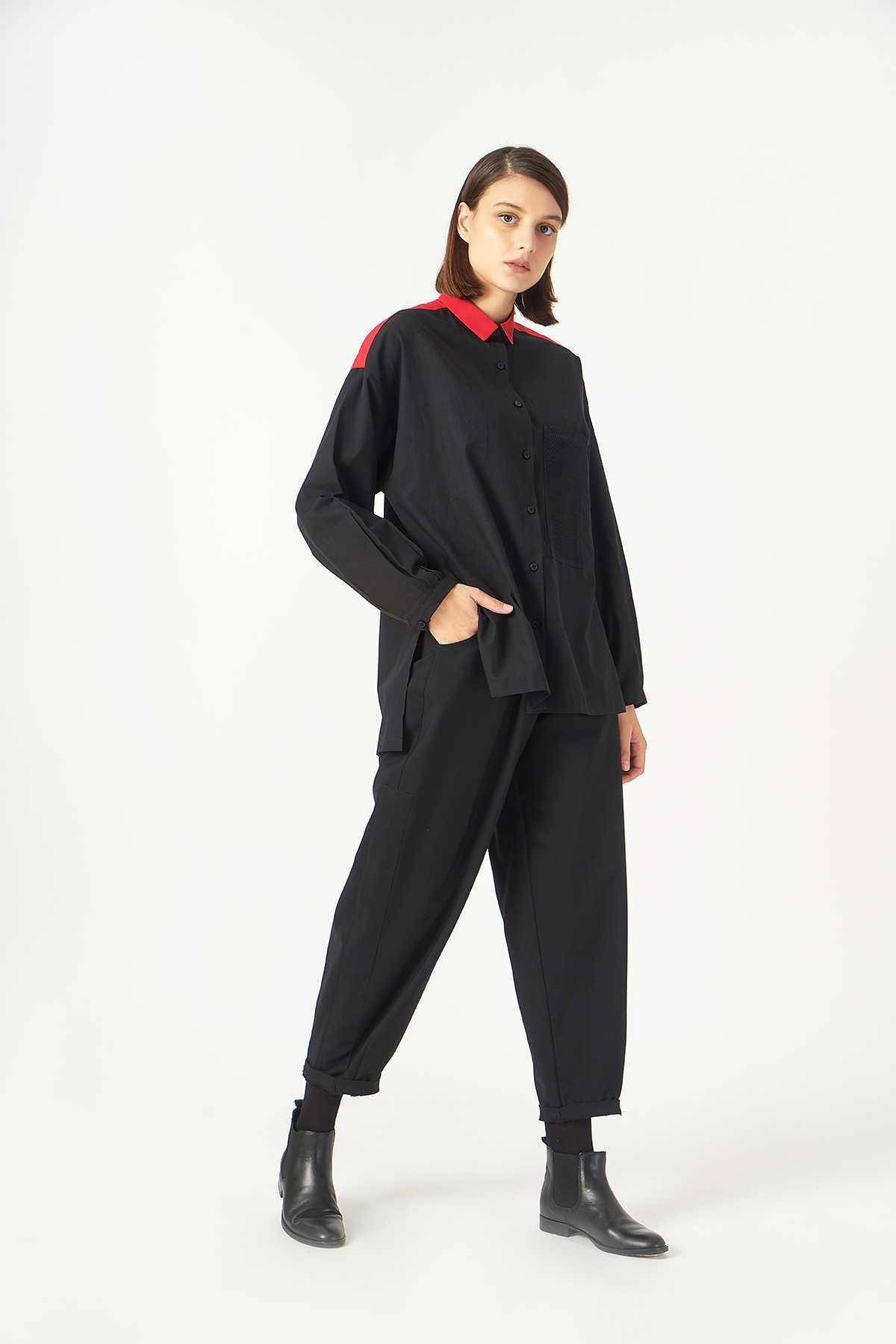 Kuaybe Gider - 1059 Kuaybe Gider Siyah Kadın Gömlek