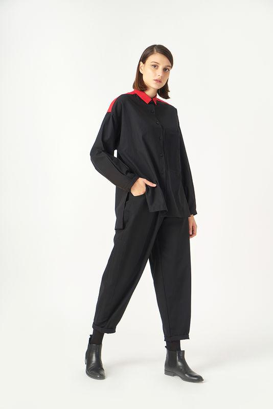 1059 Kuaybe Gider Siyah Kadın Gömlek