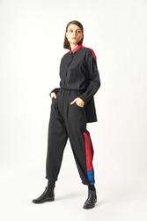 1059 Kuaybe Gider Siyah Kadın Gömlek - Thumbnail