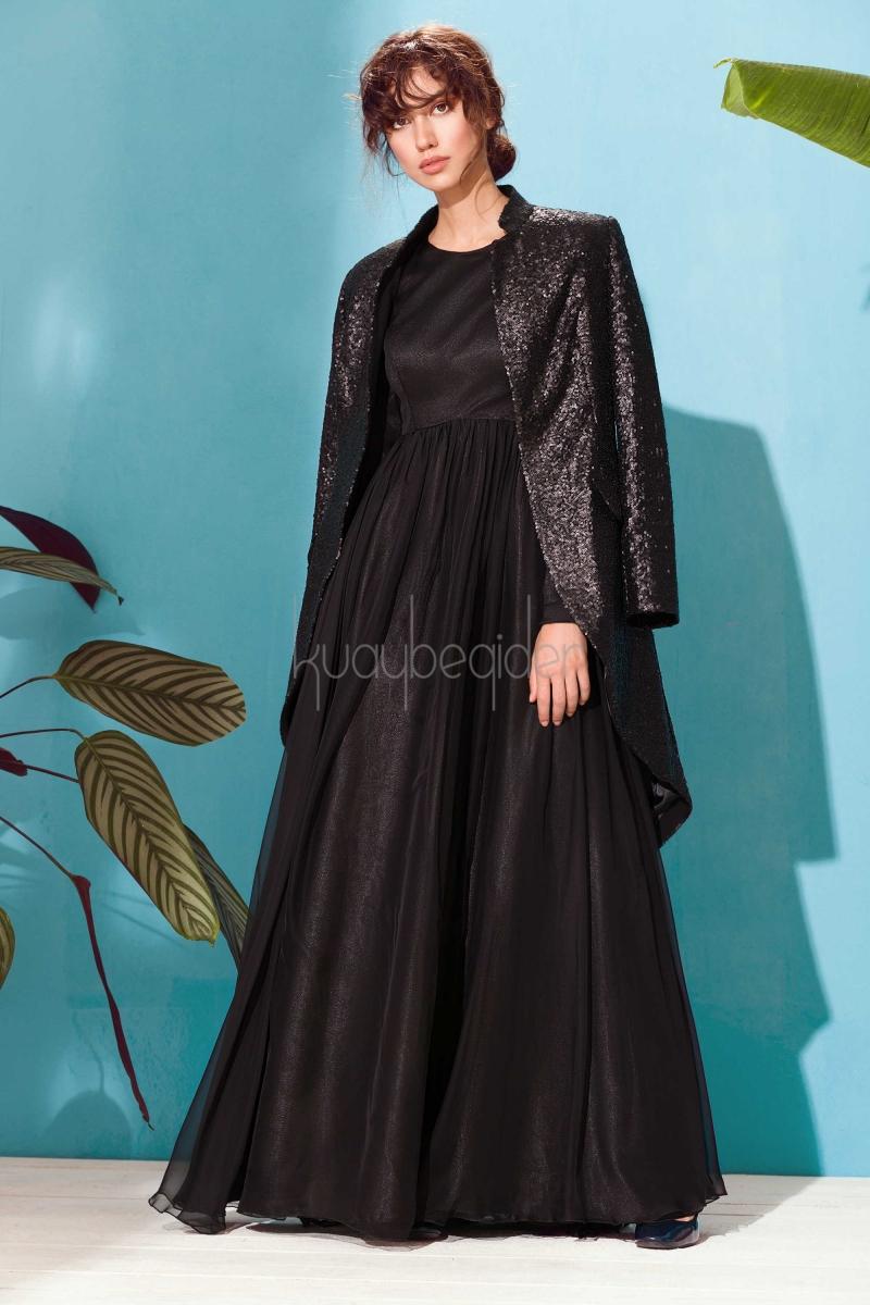 Kuaybe Gider - 2041 Siyah Alba Abiye Elbise