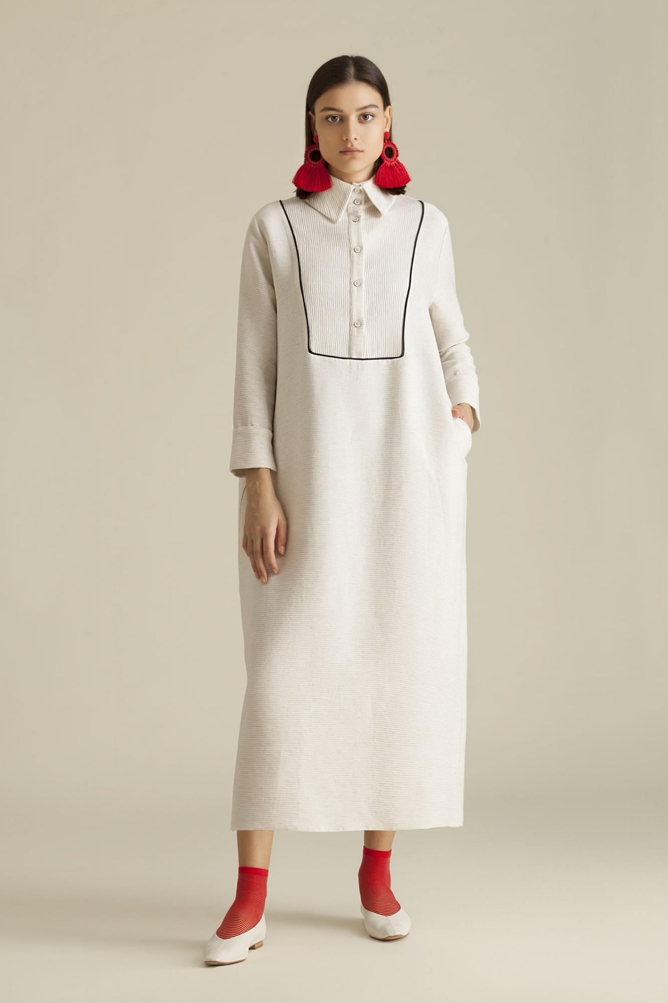 Kuaybe Gider - 2059 Elbise Ekru-Lacivert