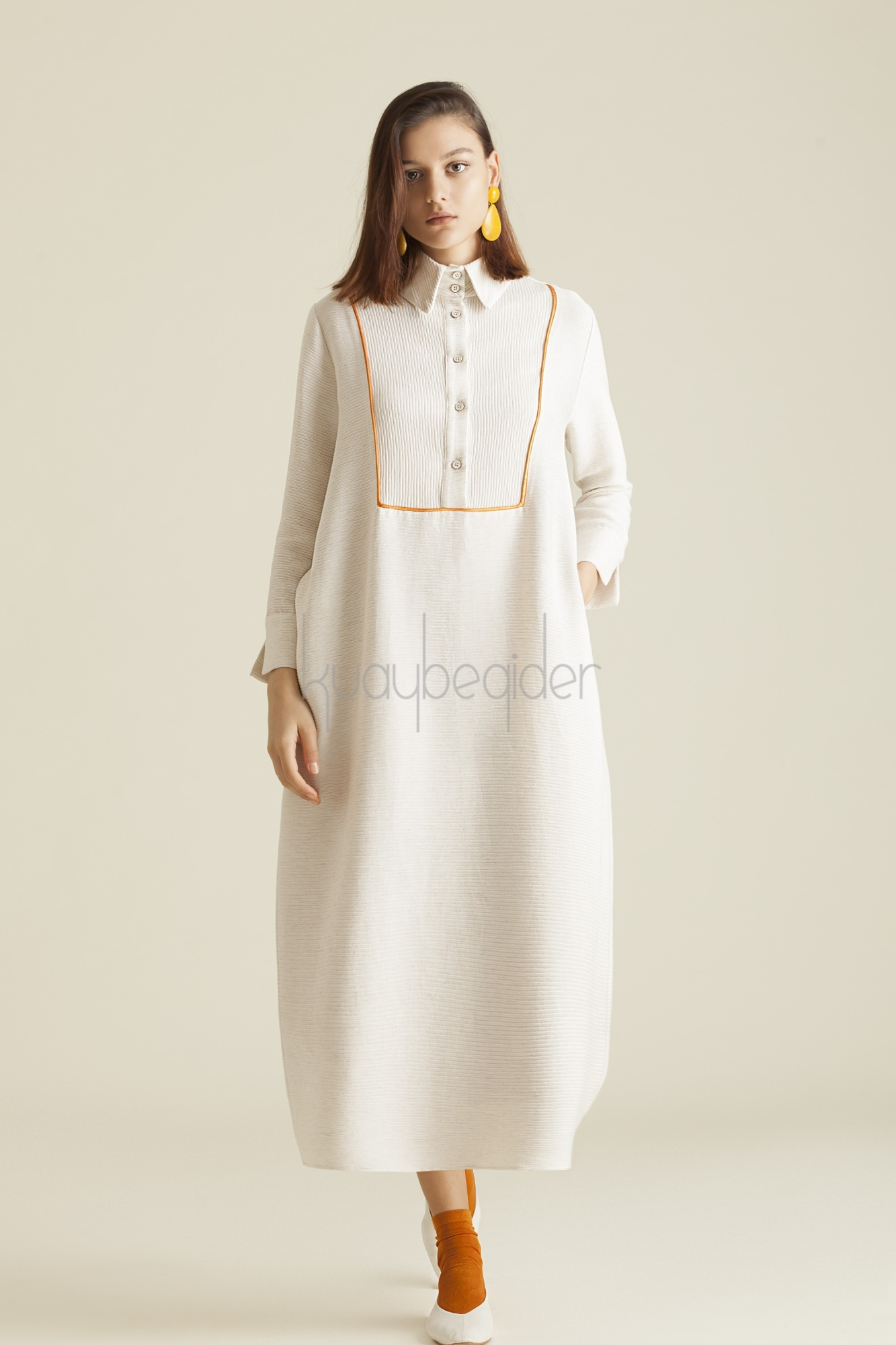 Kuaybe Gider - 2059 Elbise Ekru-Nar