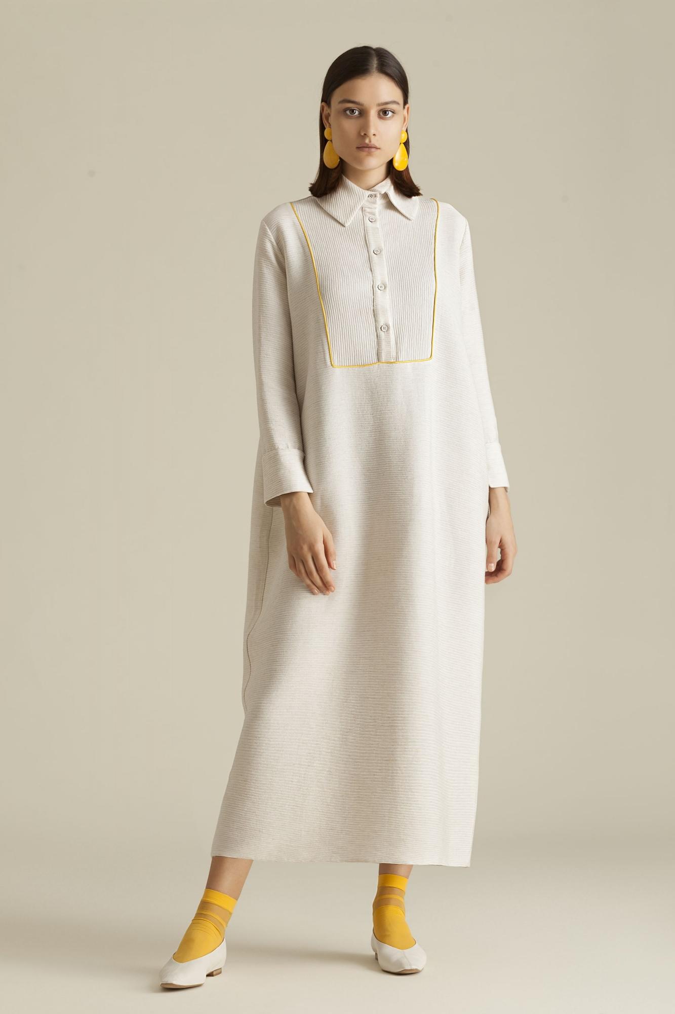 Kuaybe Gider - 2059 Elbise Ekru-Sarı