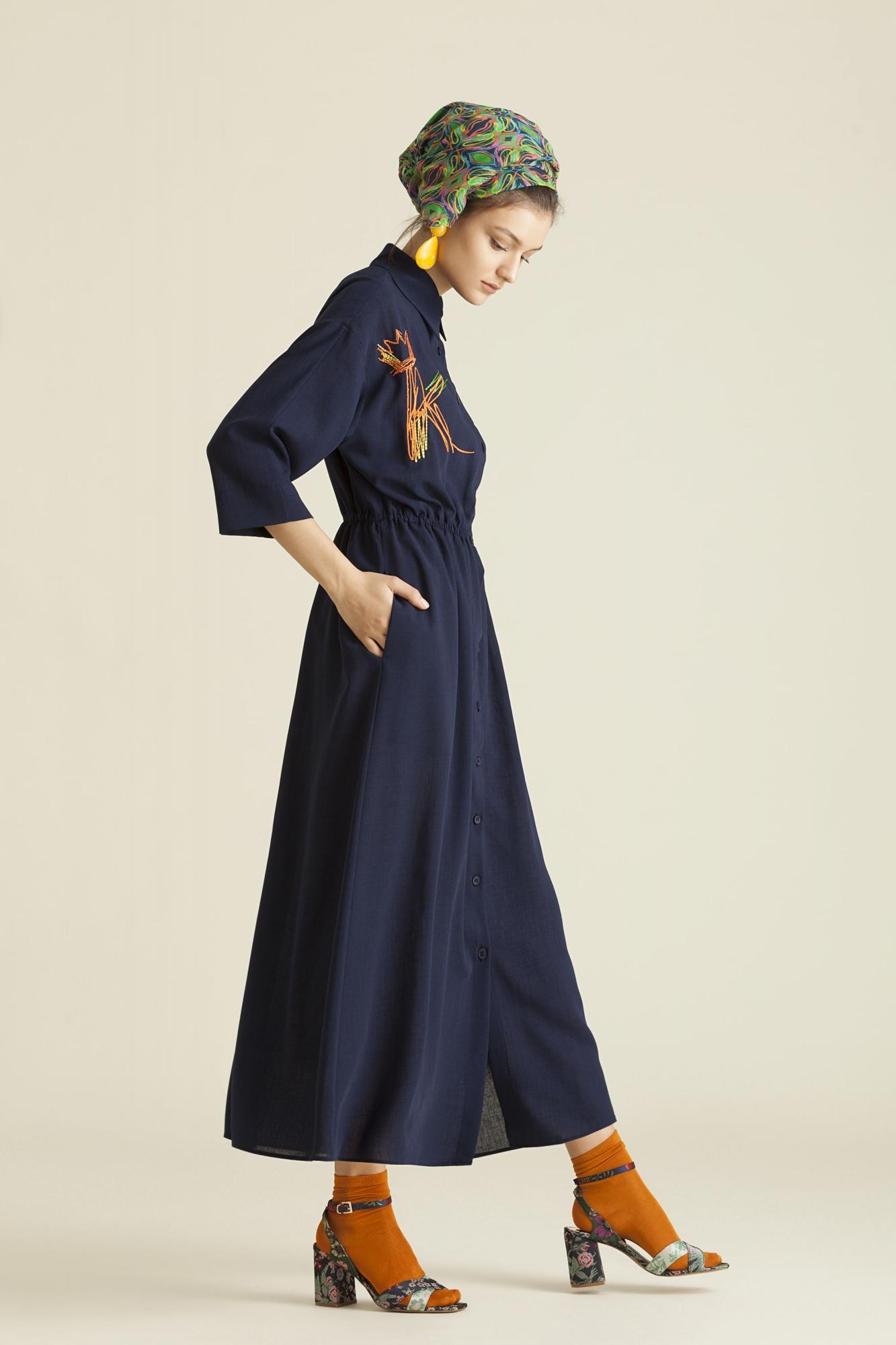 2060 Elbise Lacivert