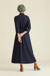 2060 Elbise Lacivert - Thumbnail