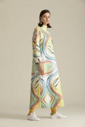2065 Elbise Desenli Off White - Thumbnail