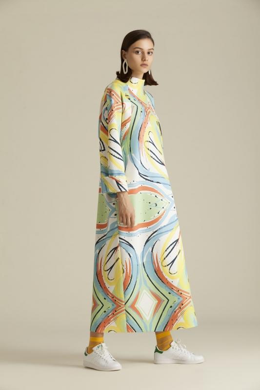 2065 Elbise Desenli Off White