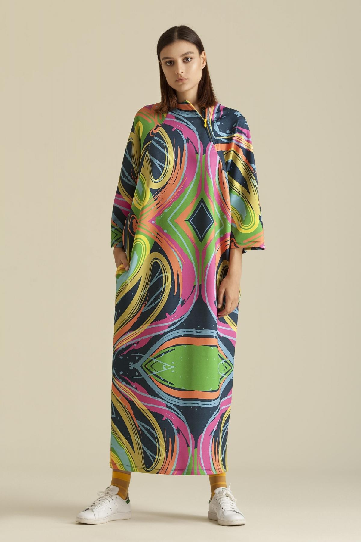 Kuaybe Gider - 2065 Elbise Desenli Lacivert
