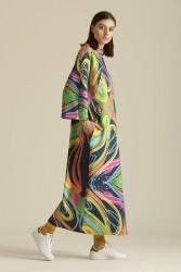 2065 Elbise Desenli Lacivert - Thumbnail