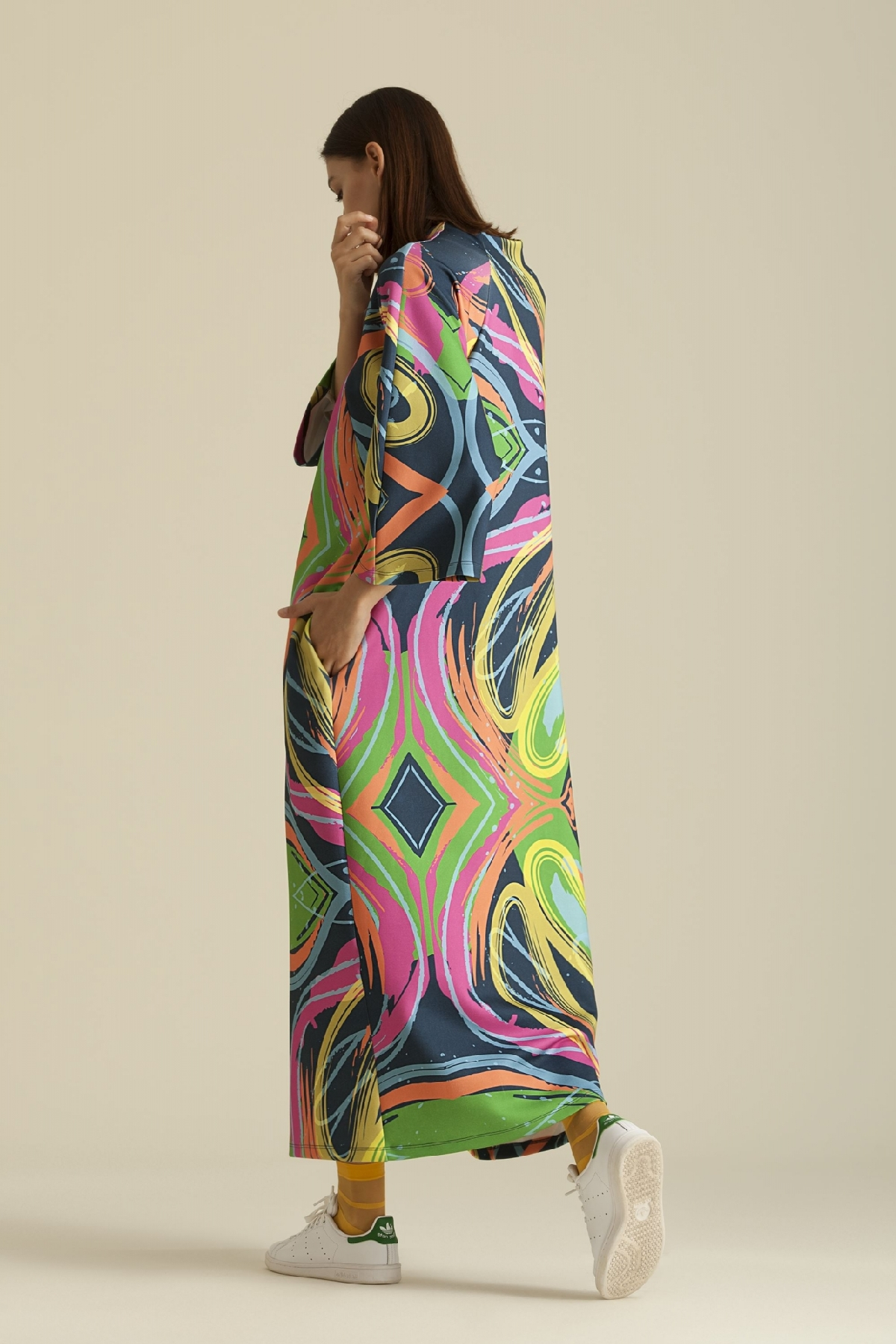 2065 Elbise Desenli Lacivert