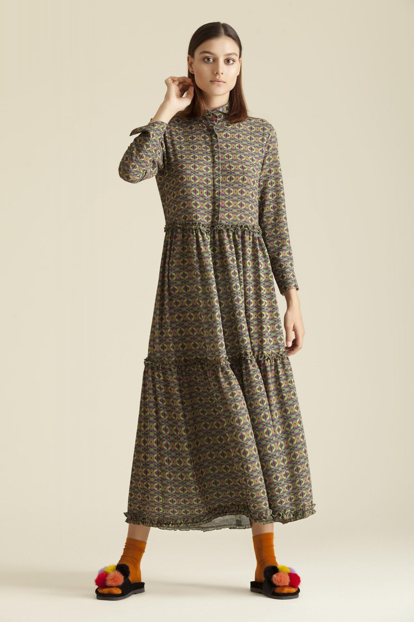 Kuaybe Gider - 2067 Elbise Desenli Lacivert