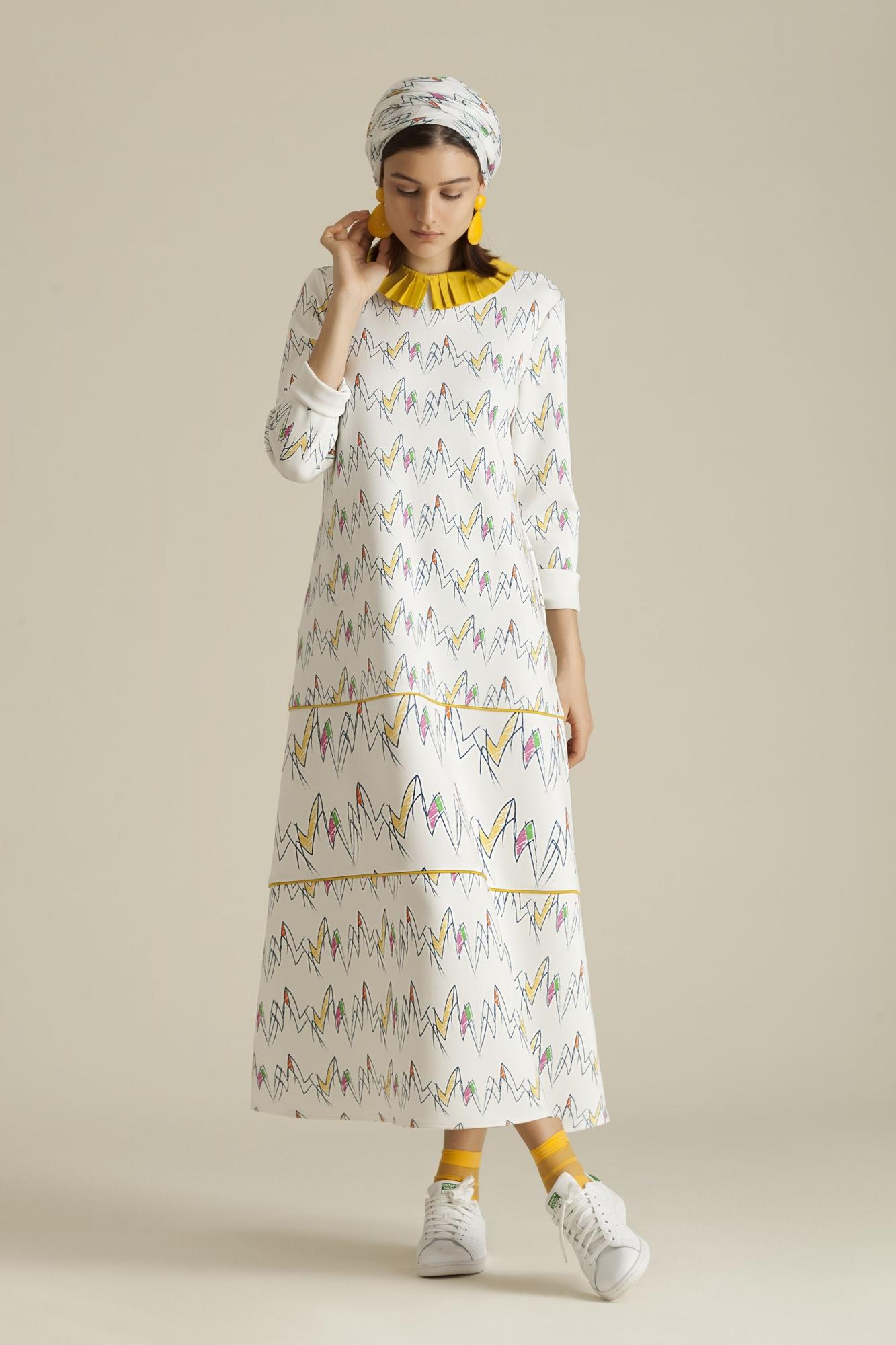 Kuaybe Gider - 2068 Elbise Desenli Zigzag