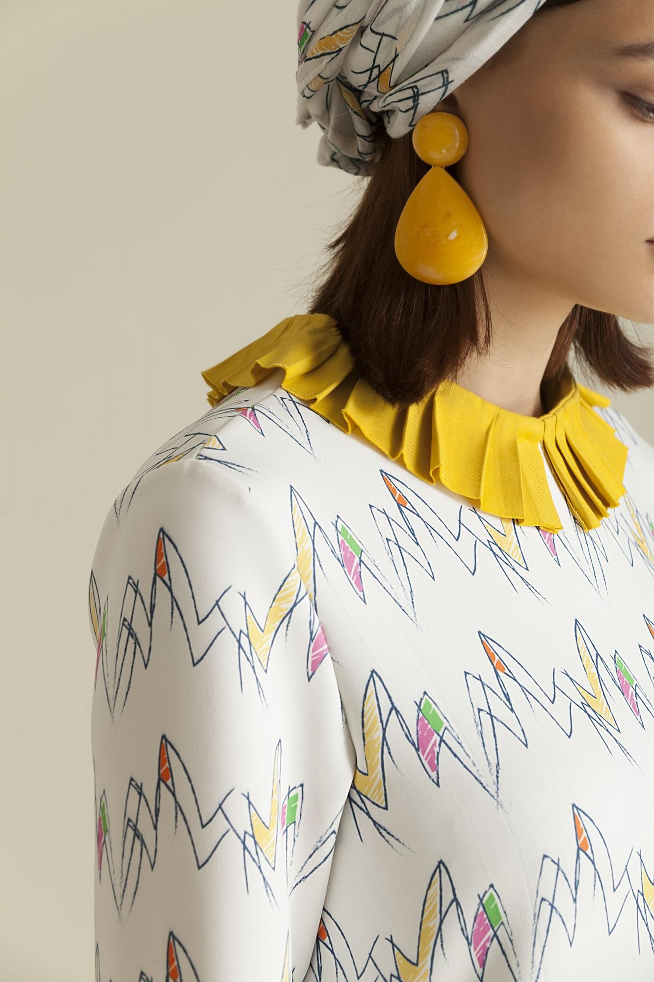 2068 Elbise Desenli Zigzag