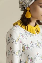 2068 Elbise Desenli Zigzag - Thumbnail