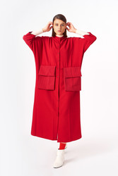 2083 Elbise Kırmızı - Thumbnail