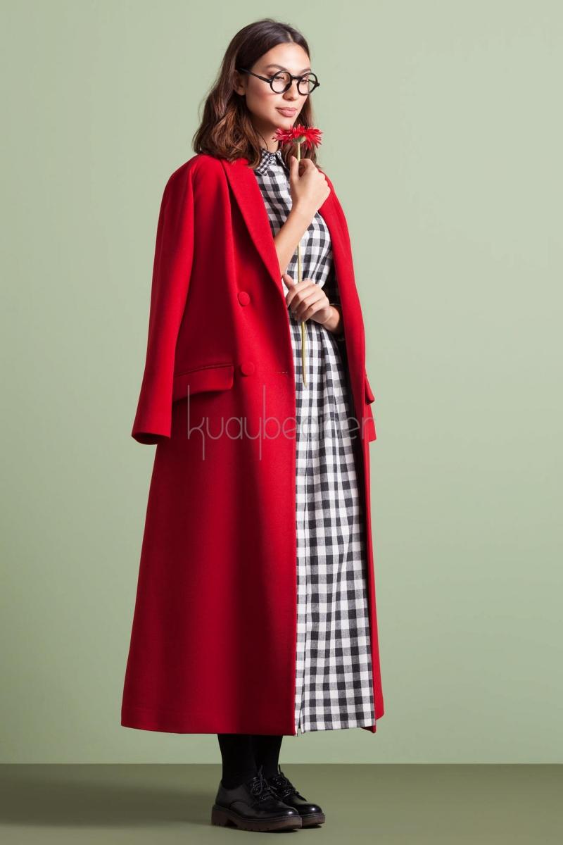 Kuaybe Gider - 7047 Kırmızı Ampirik Palto