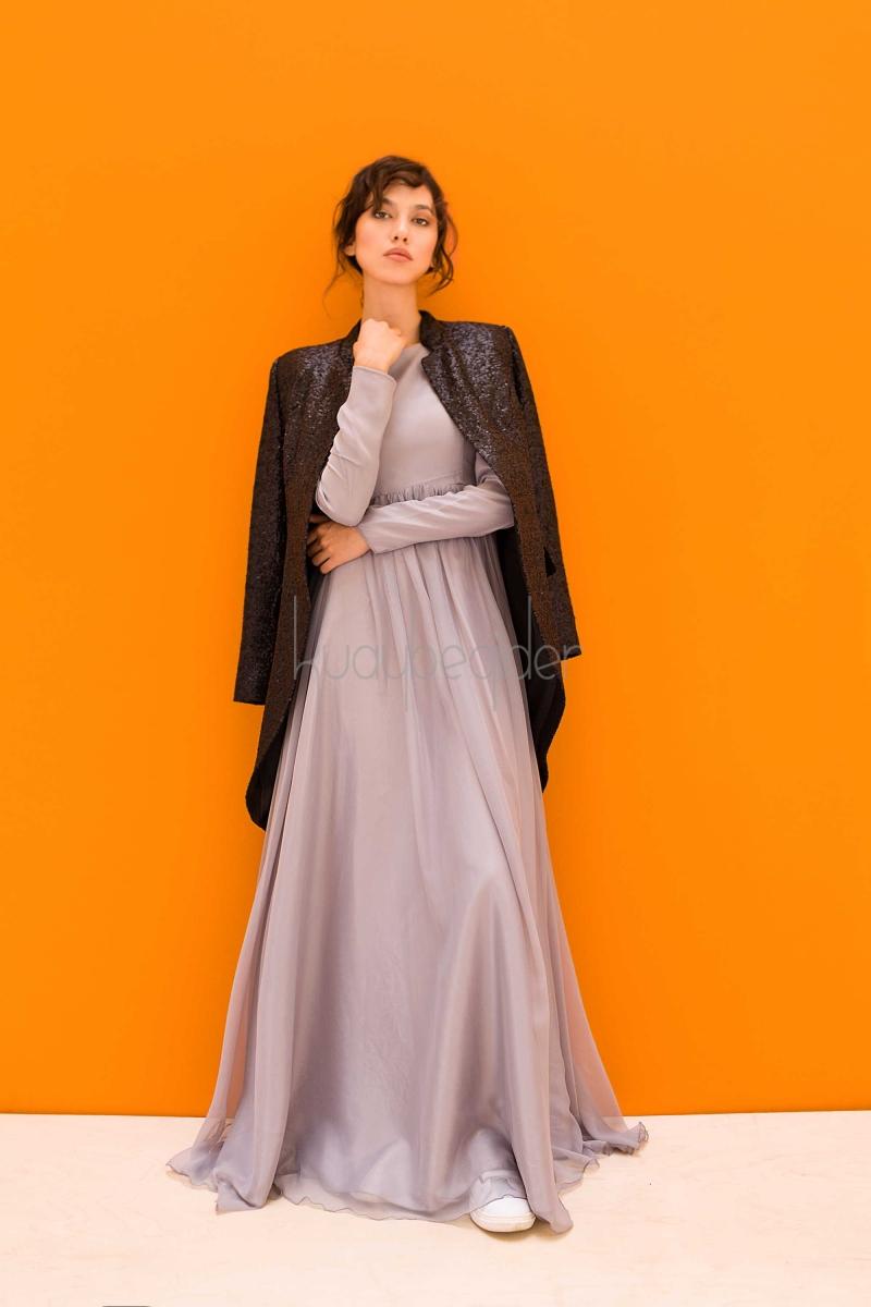 Kuaybe Gider - Gri Alba Abiye Elbise