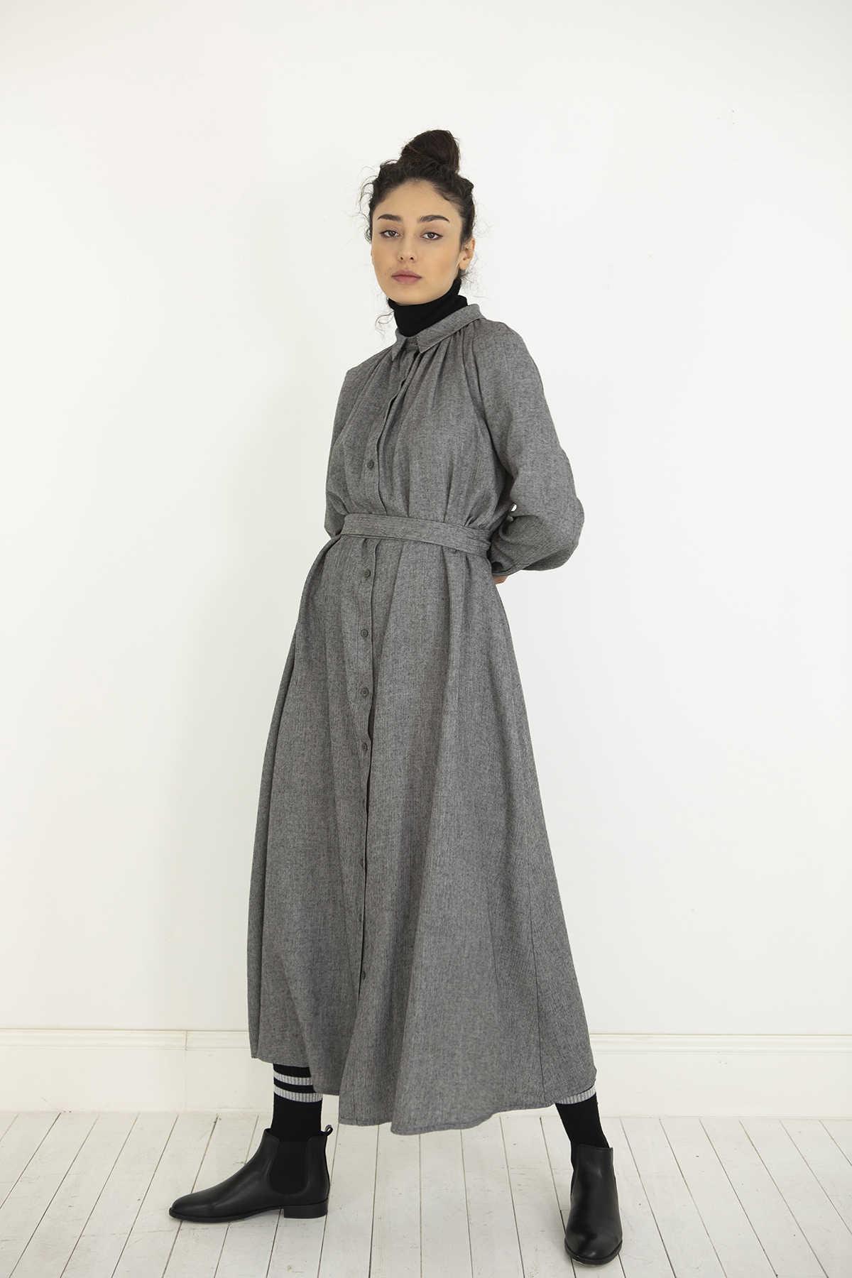 Kuaybe Gider - Kuaybe Gider Gri Elbise 2100