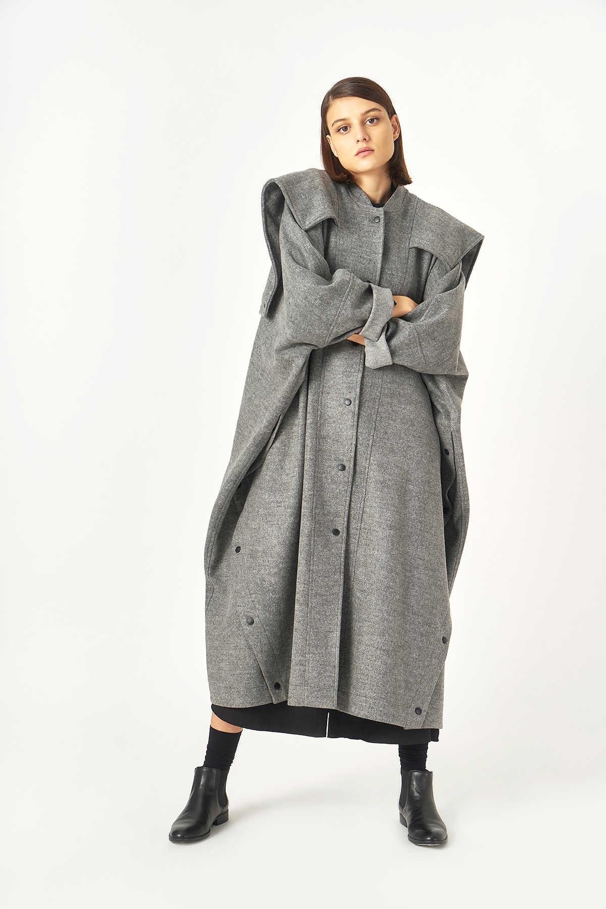 Kuaybe Gider - Kuaybe Gider Gri Kadın Palto 7099