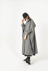 Kuaybe Gider Gri Kadın Palto 7099 - Thumbnail