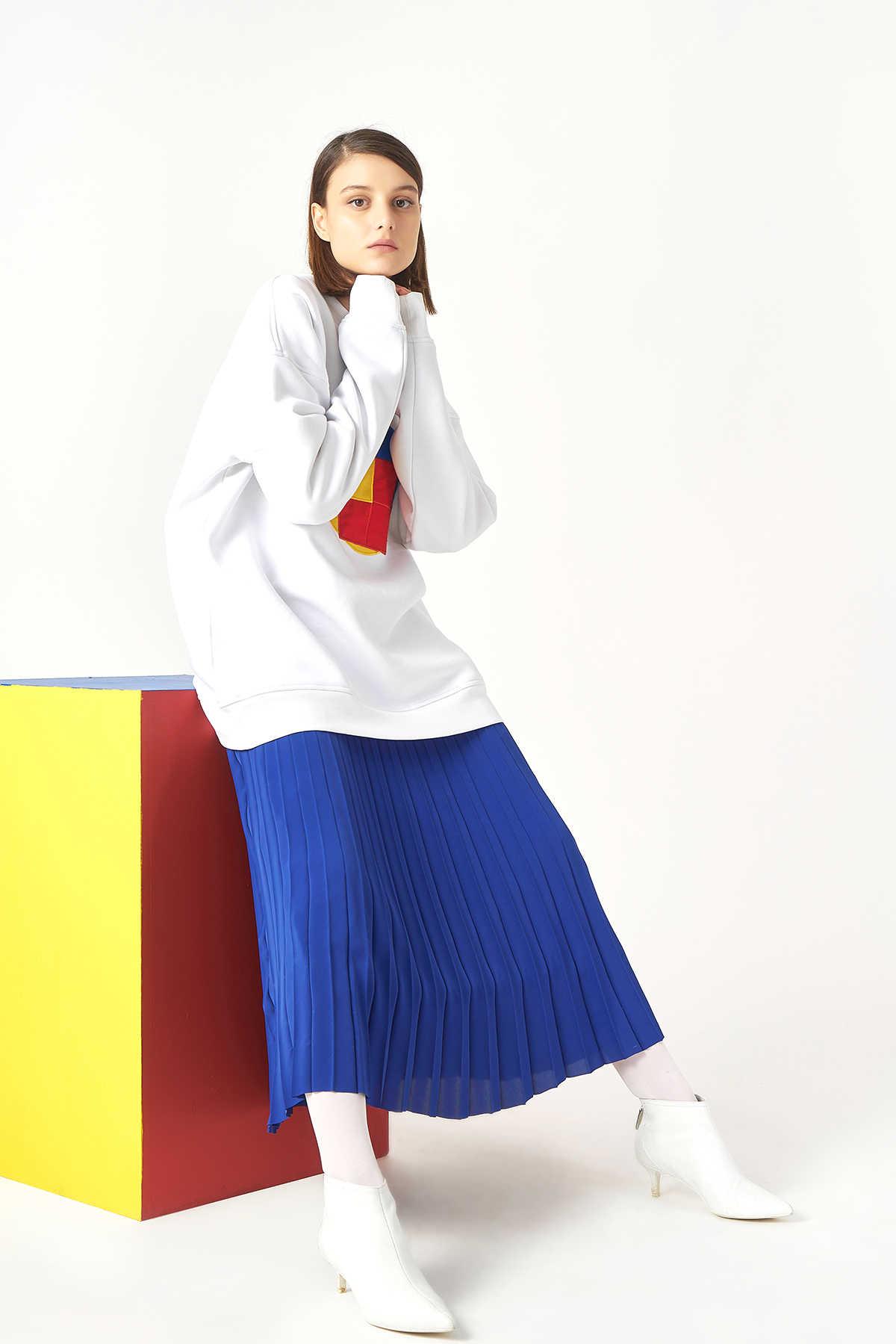 Kuaybe Gider - Kuaybe Gider Koton Beyaz Kadın Sweat 1061