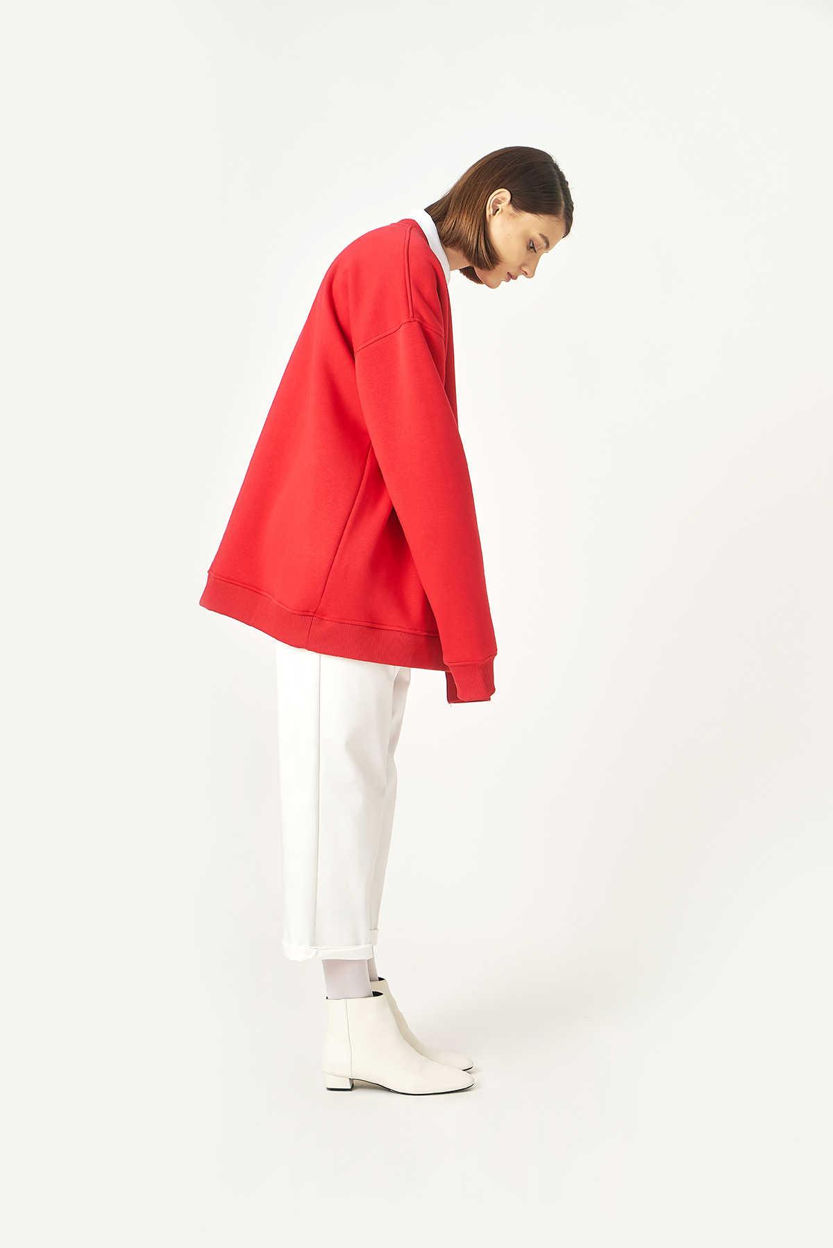 Kuaybe Gider Koton Kırmızı Kadın Sweat 1060