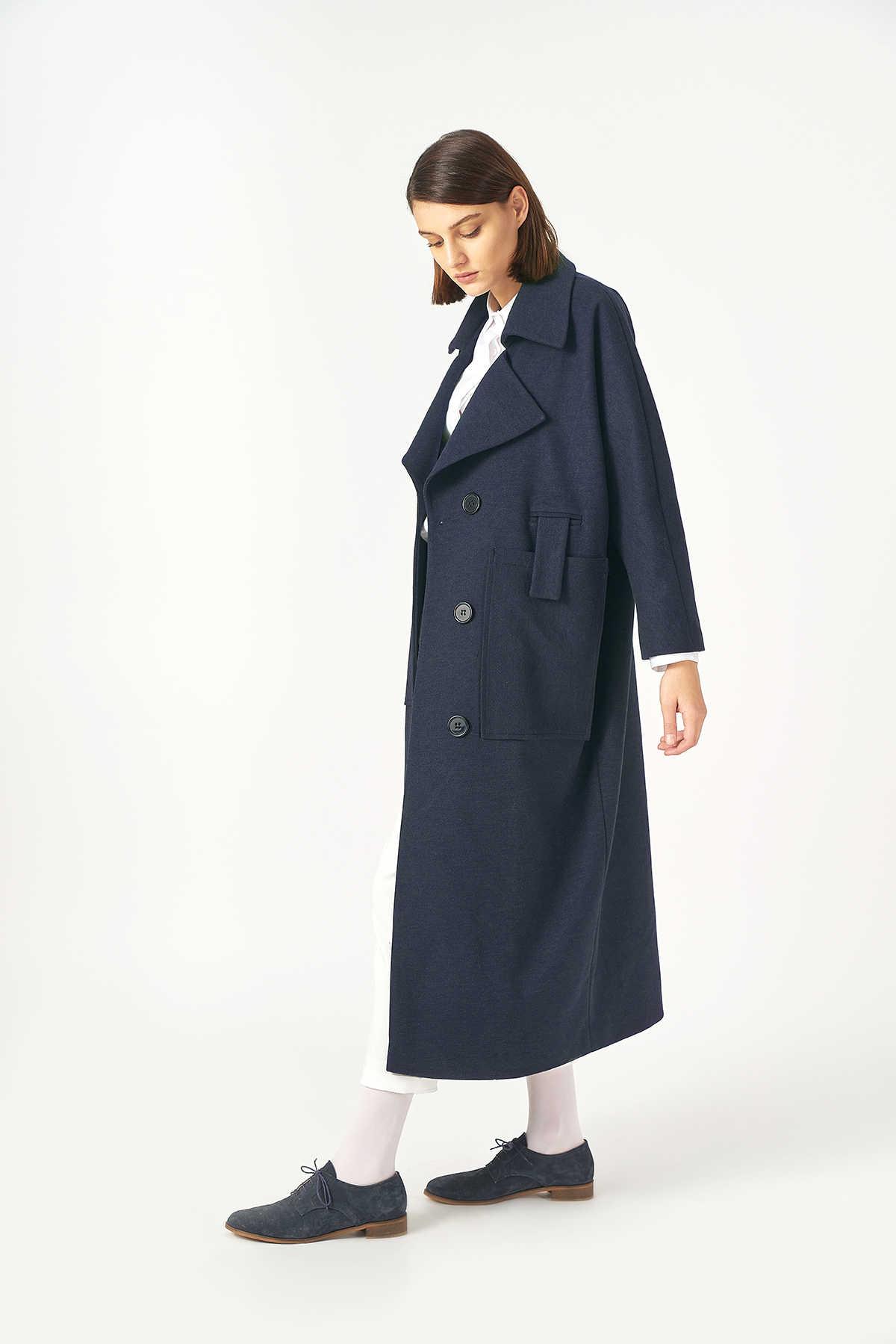 Kuaybe Gider - Kuaybe Gider Lacivert Kadın Palto 7101