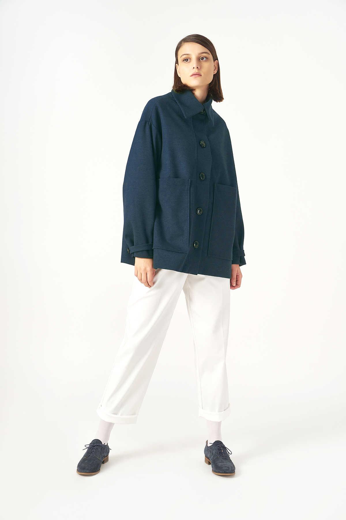 Kuaybe Gider Lacivert Kadın Palto 7102