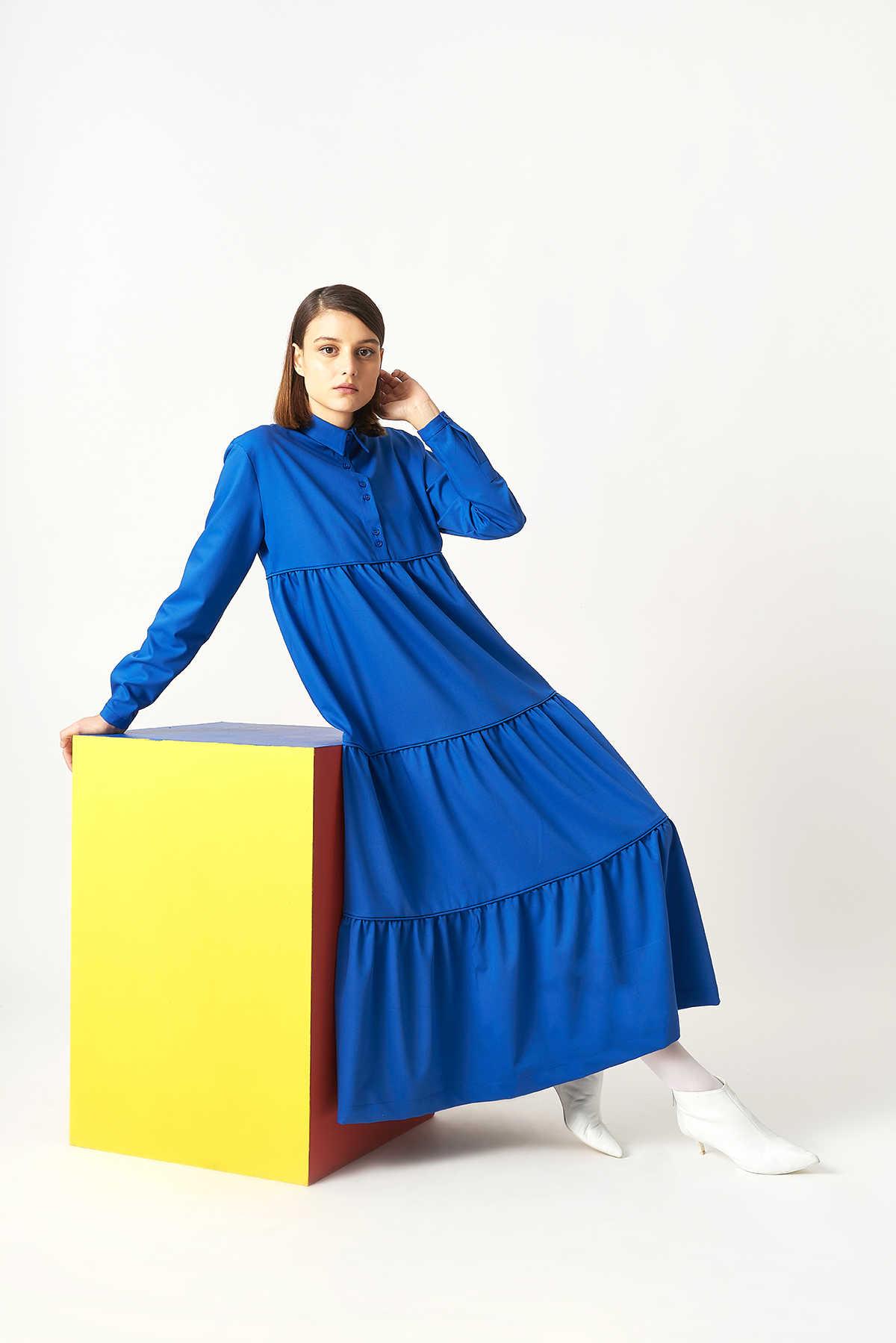 Kuaybe Gider - Kuaybe Gider Mavi Elbise 2101