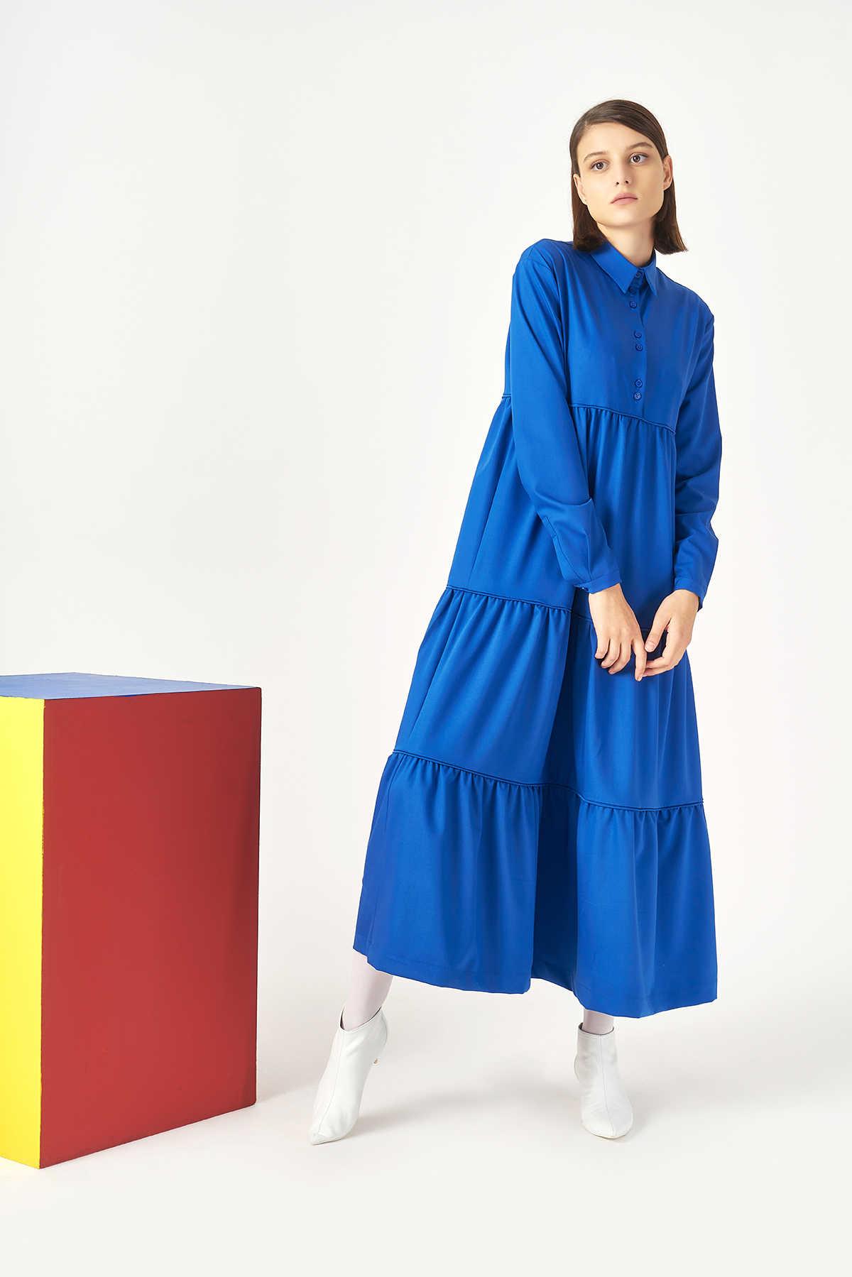 Kuaybe Gider Mavi Elbise 2101