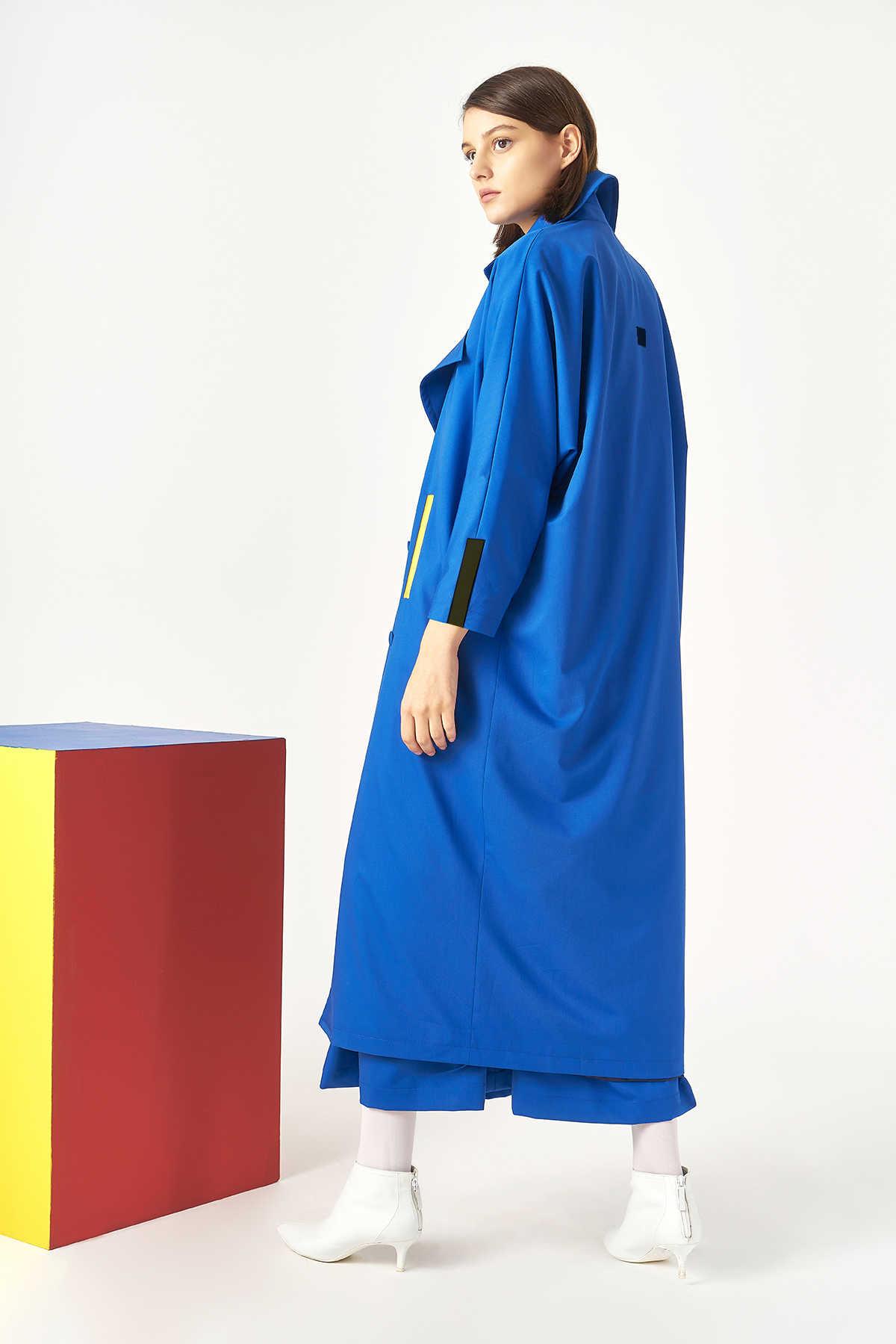 Kuaybe Gider - Kuaybe Gider Mavi Kadın Trench 7100