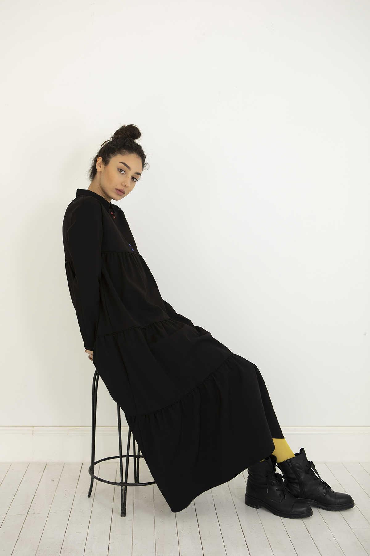 Kuaybe Gider Siyah Elbise 2101