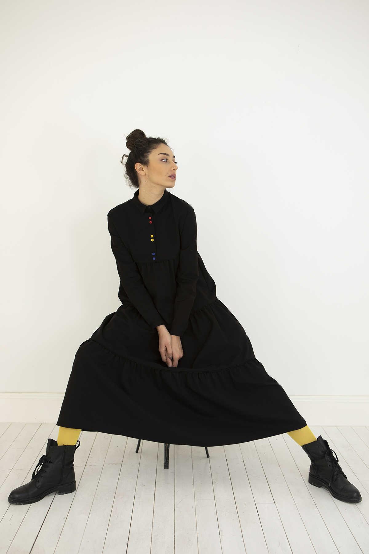 Kuaybe Gider - Kuaybe Gider Siyah Elbise 2101