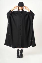 Kuaybe Gider Siyah Kadın Palto 7099 - Thumbnail