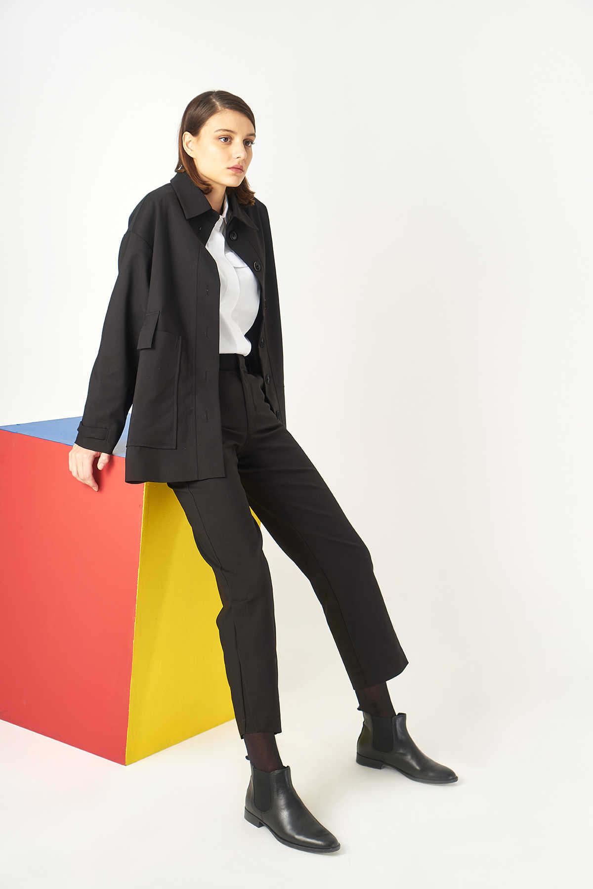 Kuaybe Gider - Kuaybe Gider Siyah Kadın Palto 7103