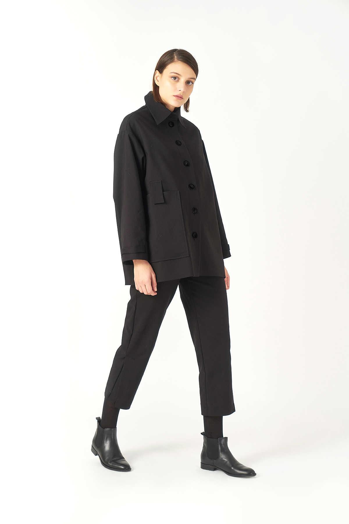 Kuaybe Gider Siyah Kadın Palto 7103
